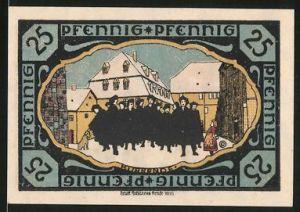 Notgeld Pössneck, 25 Pfennig, Kurgäste in der Stadt, Wappen