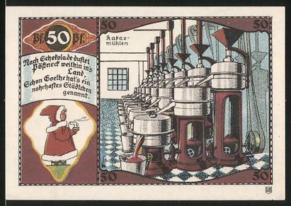 Notgeld Pössneck, 50 Pfennig, Kakaomühlen in einer Schokoladenfabrik, Wappen