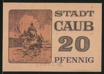 Notgeld Caub, 20 Pfennig, Burg Pfalzgrafenstein im Rhein