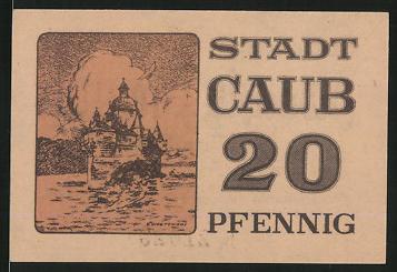 Notgeld Caub, 20 Pfennig, Burg Pfalzgrafenstein, Wasserburg im Rhein