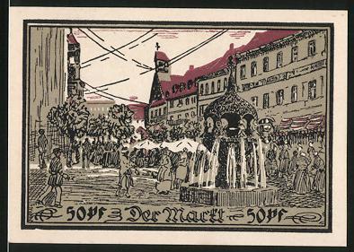 Notgeld Aschersleben 1921, 50 Pfennig, Partie auf dem Marktplatz, Brunnen & Marktstände