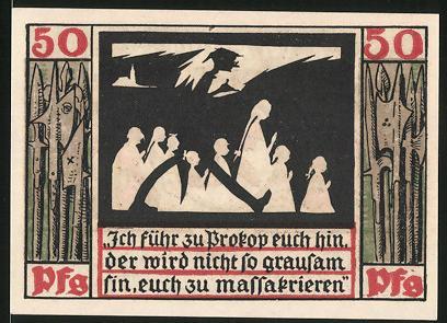 Notgeld Naumburg 1920, 50 Pfennig, Mann führt Mädchen zu Prokop, Wappen