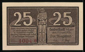notgeld halberstadt 1921 25 pfennig ortspartie buko von halberstadt nr 6341528 oldthing. Black Bedroom Furniture Sets. Home Design Ideas