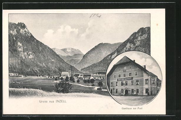 Künstler-AK Eugen Felle: Inzell, Gasthaus zur Post, Blick zum Ort
