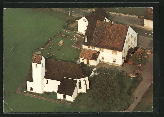 AK Maienfeld, Landgasthof St. Luzisteig, Fliegeraufnahme