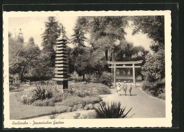 ak karlsruhe japanischer garten nr 6344929 oldthing ansichtskarten deutschland plz 70 79. Black Bedroom Furniture Sets. Home Design Ideas