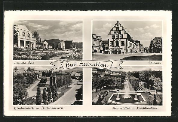 AK Bad Salzuflen, Leopold-Bad, Rathaus, Gradierwerk m. Badehäusern, Hauptallee m. Leuchtfontäne