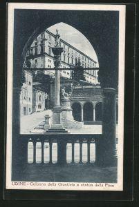 AK Udine, Colonna della Giustizia e statua della Pace