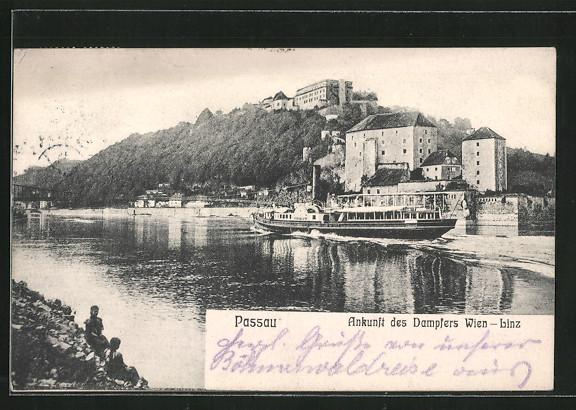AK Passau, Ankunft des Dampfers
