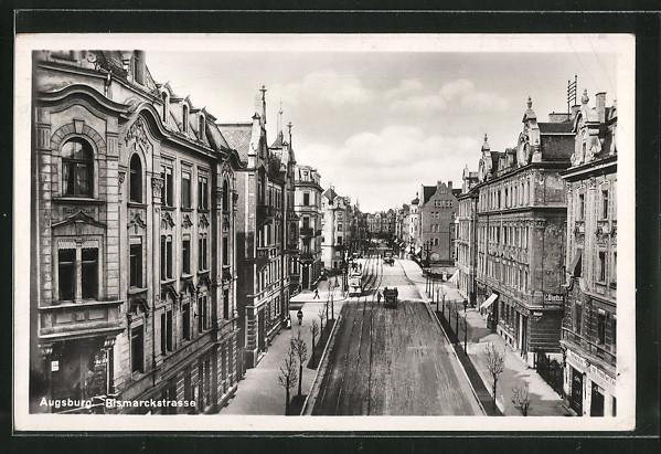 ak augsburg bismarckstrasse mit strassenbahn nr 6351581 oldthing ansichtskarten deutschland. Black Bedroom Furniture Sets. Home Design Ideas