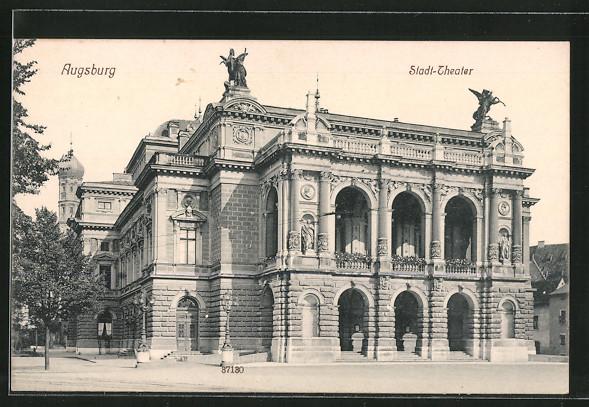 ak augsburg ansicht des stadt theaters nr 6351610 oldthing ansichtskarten deutschland plz. Black Bedroom Furniture Sets. Home Design Ideas