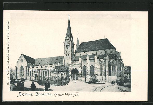 ak augsburg domkirche mit passanten nr 6351661 oldthing ansichtskarten deutschland plz 80. Black Bedroom Furniture Sets. Home Design Ideas