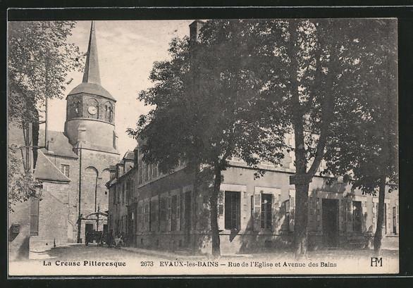 Ak evaux les bains rue de l 39 eglise et avenue des bains for Rue des bains