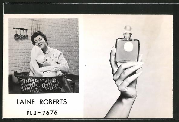AK Laine Roberts mit Wäschekorb wirbt für Wäscheduft, Parfüm