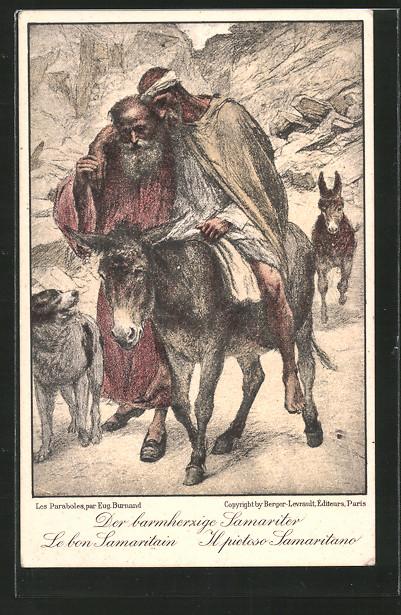 Künstler-AK der barmherzige Samariter hilft krankem Mann auf Esel