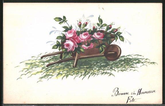 Künstler-AK Handgemalt: Bonne et Heureuse Fête, Schubkarre voll Blumen