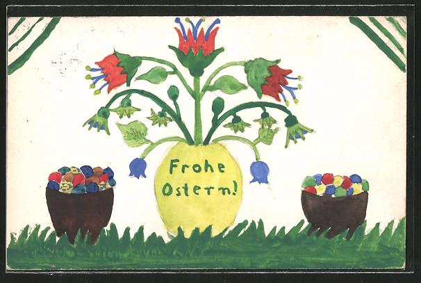 Künstler-AK Handgemalt: Frohe Ostern, Blumen und bunte Eier