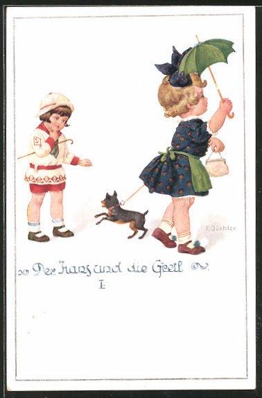 Künstler-AK Franz Jüchtzer: Der Hans und die Gretl I., Mädchen mit Hund