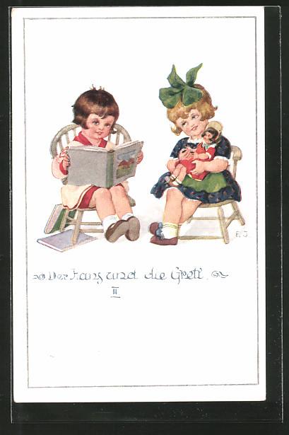 Künstler-AK Franz Jüchtzer: Der Hans und die Gretl III., Kinder mit Puppe und Bilderbuch