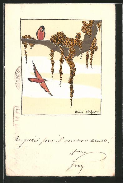 Künstler-AK Handgemalt: Vogel sitzt auf einem Ast