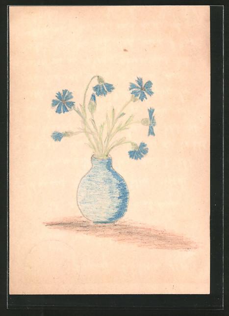 Künstler-AK Handgemalt: ein Strauss Kornblumen in einer Blumenvase