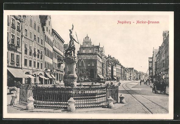 ak augsburg herkulesbrunnen in der maximilianstrasse nr 6356640 oldthing ansichtskarten. Black Bedroom Furniture Sets. Home Design Ideas