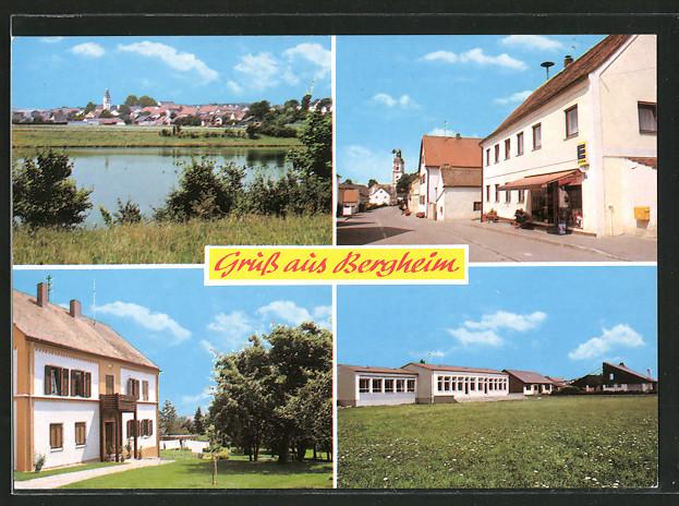 ak bergheim panoramaansicht strassenpartie mit edeka markt schule nr 6356989 oldthing. Black Bedroom Furniture Sets. Home Design Ideas