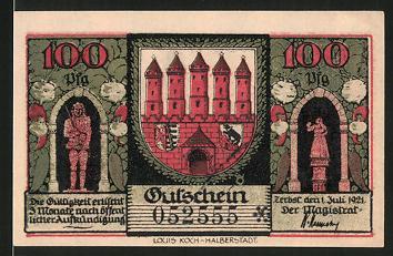 Notgeld Zerbst 1921, 100 Pfennig, Wappen, Marktstände auf dem Marktplatz