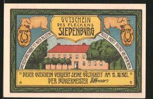 Notgeld Siedenburg 1921, 75 Pfennig, Schweine, Gebäudeansicht, Strassenpartie mit Fachwerkhaus