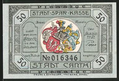 Notgeld Canth, 50 Pfennig, Wappen, Portrait Generalfeldmarschall Fürst Blücher von Wahlstatt