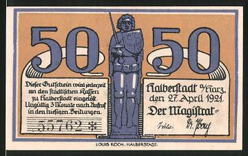 notgeld halberstadt 1921 50 pfennig roland statue bischof mit kindern nr 6360680 oldthing. Black Bedroom Furniture Sets. Home Design Ideas