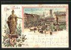 Lithographie Berlin, Verkehr auf dem Alexanderplatz, Statue der Berolina