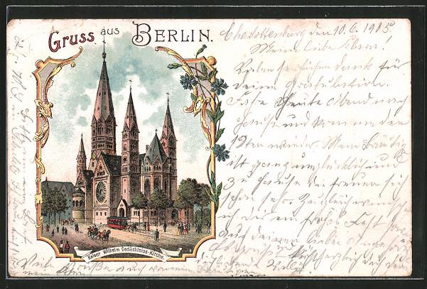 Lithographie Berlin-Charlottenburg, Kaiser Wilhelm Gedächtnis Kirche