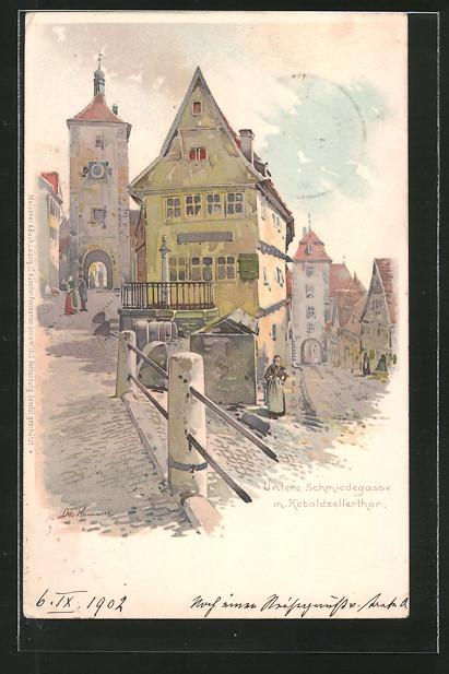 Künstler-Lithographie Otto Hammel: Rothenburg, Untere Schmiedegasse mit Koboldzellertor