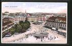 AK Graz, Jakominiplatz mit Strassenbahnen aus der Vogelschau
