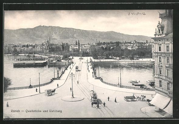 AK Zürich, Strassenbahn auf der Quaibrücke mit Blick zum Uetliberg
