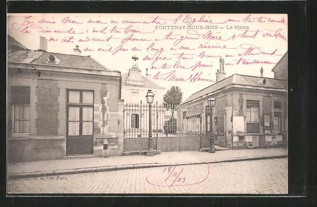 AK FontenaysousBois, La mairie Nr 6371907  oldthing  ~ Fontenay Sous Bois Mairie