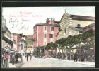 AK Ventimiglia, Piazza del Mercato e Via Cavour, Strassenbahn
