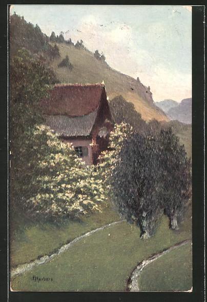 Künstler-AK E. Harbers: Wohnhaus im Frühling mit blühenden Bäumen