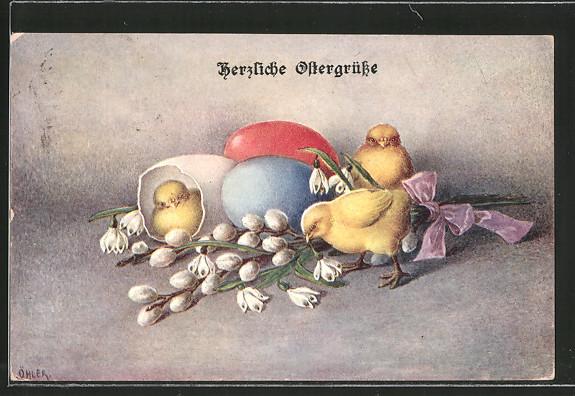 Künstler-AK C. Öhler: Osterküken mit bunten Ostereiern, Weidenkätzchen