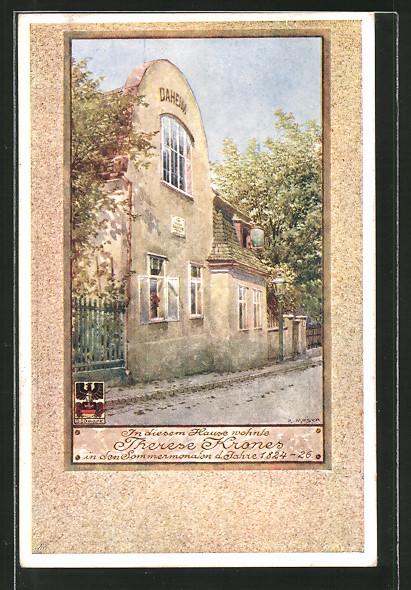 Künstler-AK Richard Moser: Wien, Wohnhaus v. Therese Krones 1824-1826, Hohe Warte 37