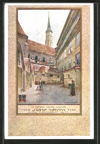 Künstler-AK Richard Moser: Wien, Wohnhaus v. Josef Haydn 1750-1755, Kohlmarkt 11