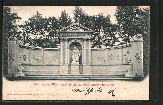 AK Wien, Franz Grillparzer-Monument im k. k. Volksgarten