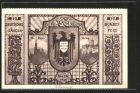 K�nstler-AK Wien, 10. Dt. S�ngerbundesfest 1928, St. Stefan, Wartburg in Eisenach, Wappen