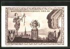 K�nstler-AK Wien, 10. Dt. S�ngerbundesfest 1928, S�nger mit Laute, Wappen
