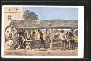 Künstler-AK Alois Greil: der Kegeltod, Männer beim Kegeln