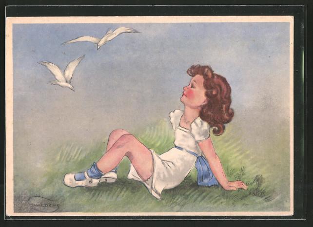 Künstler-AK Swildens: Mädchen beobachtet Tauben