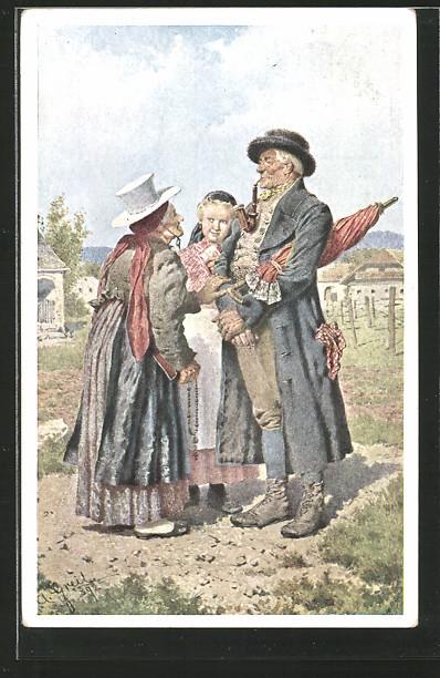 Künstler-AK Alois Greil: altes Paar in Tracht mit ihrer Enkelin am Heimweg vor der Kirche