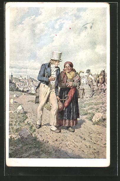 Künstler-AK Alois Greil: Franz Stelzhamer und seine Mutter