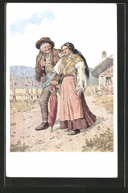Künstler-AK Alois Greil: Bauernpaar in Tracht beim Kirchgang